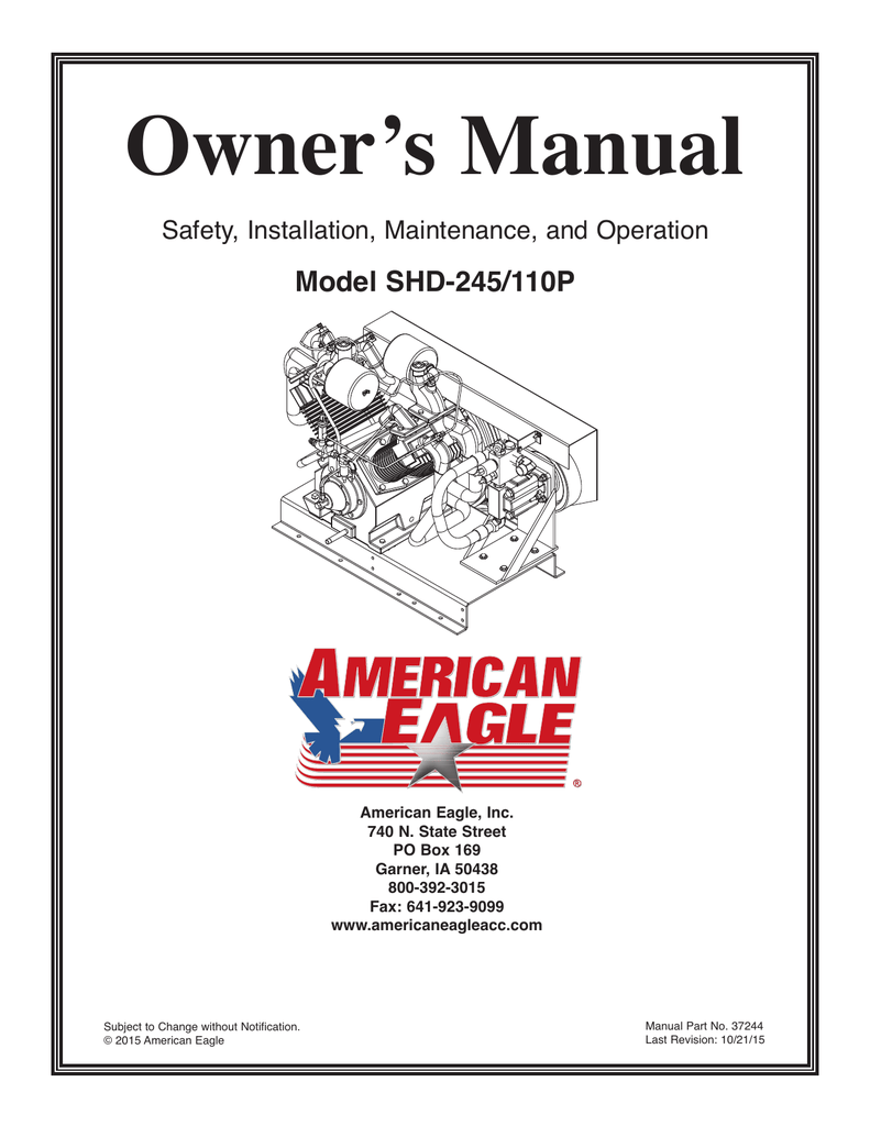Owner's Manual Model SHD-245/110P Safety, Installation