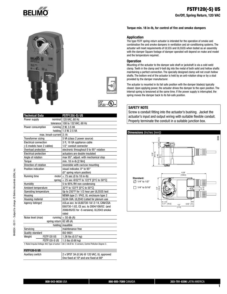 hight resolution of fstf120 s us on off spring return 120 vac application