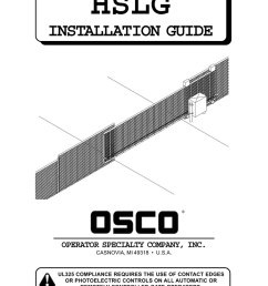 osco hslg gate opener sliding commercial operator manual manualzz com craftsman garage door opener wiring osco door opener wiring diagram [ 791 x 1024 Pixel ]