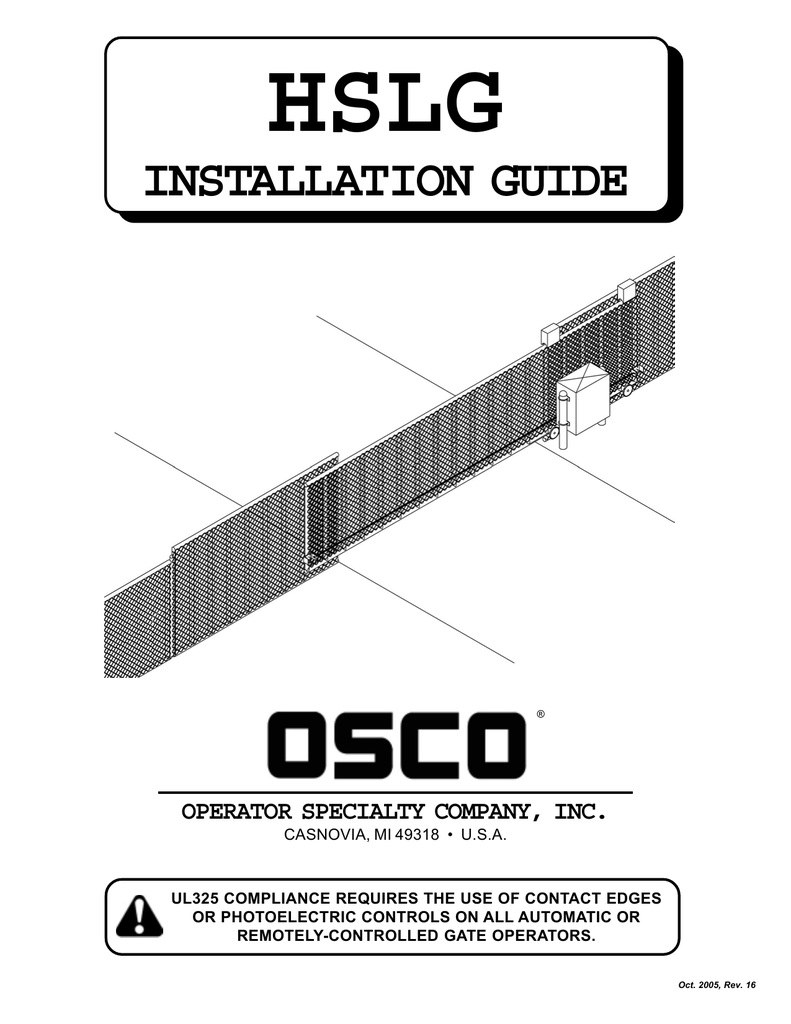 hight resolution of osco hslg gate opener sliding commercial operator manual manualzz com craftsman garage door opener wiring osco door opener wiring diagram