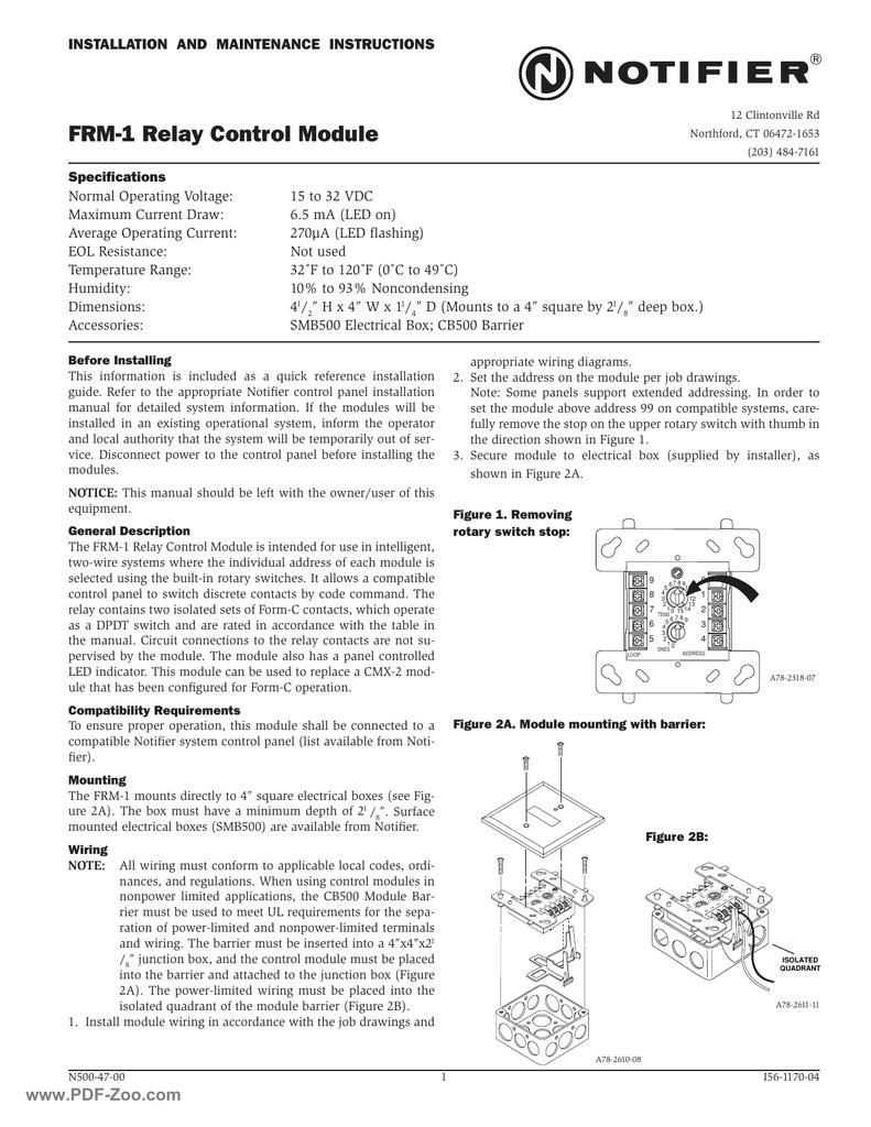 medium resolution of notifier frm 1 relay control module manualzz com notifier control module wiring diagram