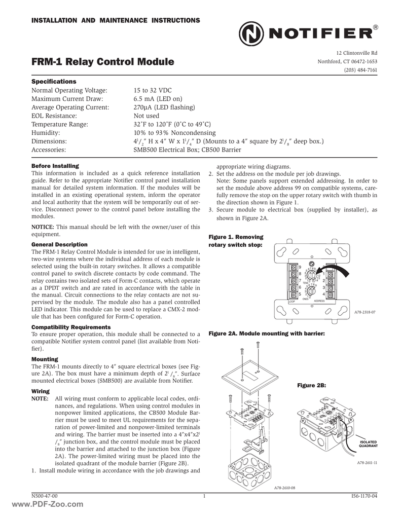 hight resolution of notifier frm 1 relay control module manualzz com notifier control module wiring diagram
