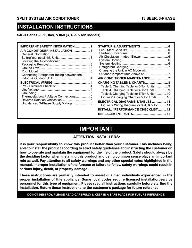 medium resolution of installation instructions split system air conditioner 13 seer 3 phase manualzz com
