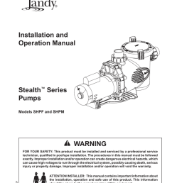 jandy stealth pump installation owners manual [ 791 x 1024 Pixel ]
