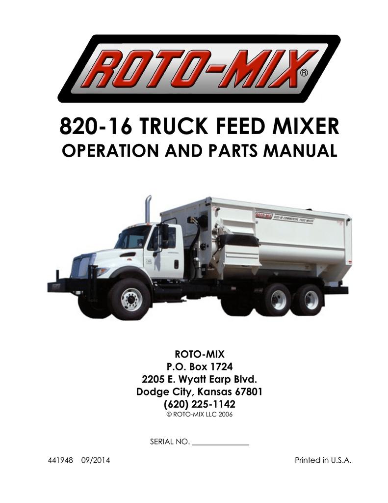 hight resolution of 820 16 truck feed mixer operation and parts manual roto mix p o box 1724 2205 e wyatt earp blvd dodge city kansas 67801 620 225 1142 roto mix llc