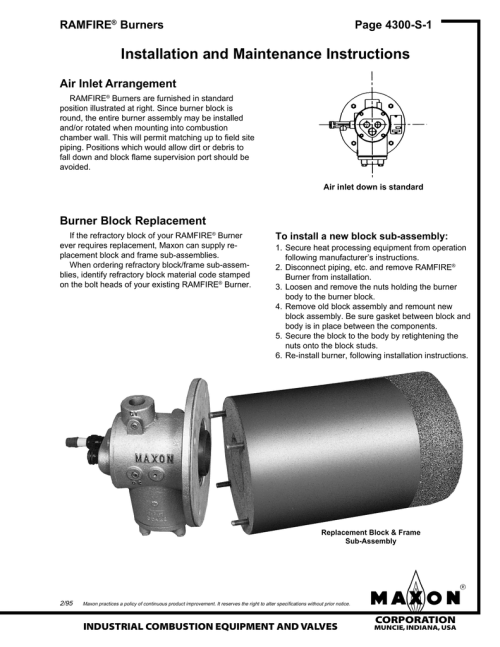 small resolution of installation and maintenance instructions ramfire burners page 4300 s 1