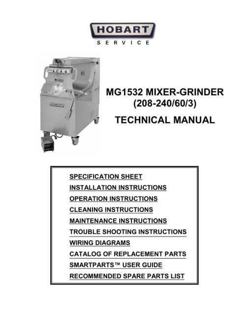 small resolution of mg1532 mixer grinder 208 240 60 3 technical manual specification sheet installation instructions operation instructions cleaning instructions maintenance