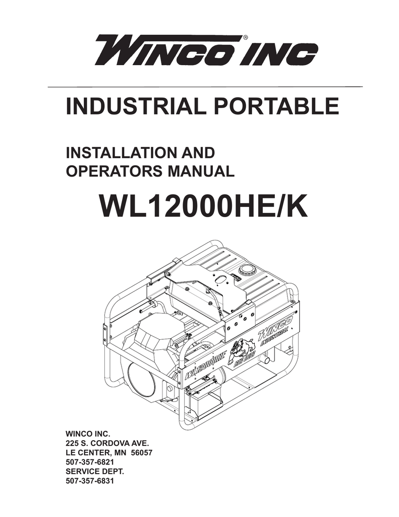medium resolution of wl12000he k industrial portable installation and operators manual