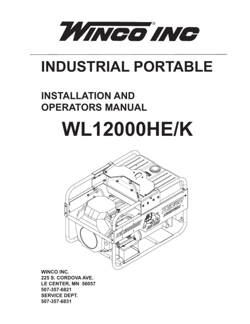 small resolution of wl12000he k industrial portable installation and operators manual