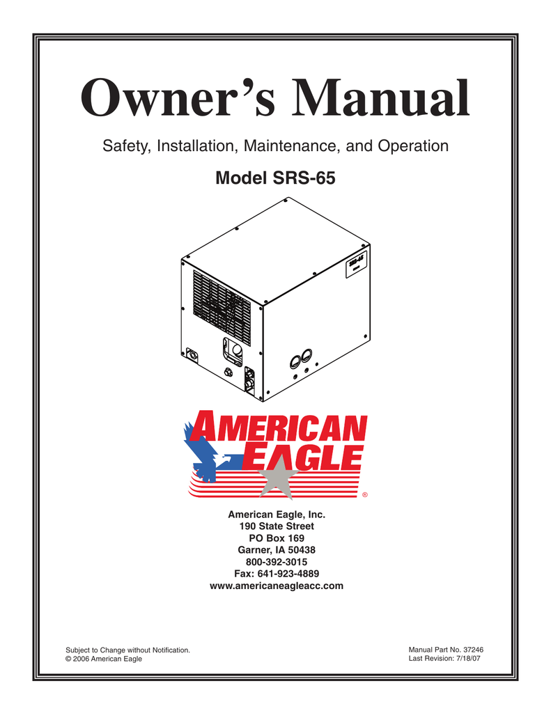 Owner's Manual Model SRS-65 Safety, Installation