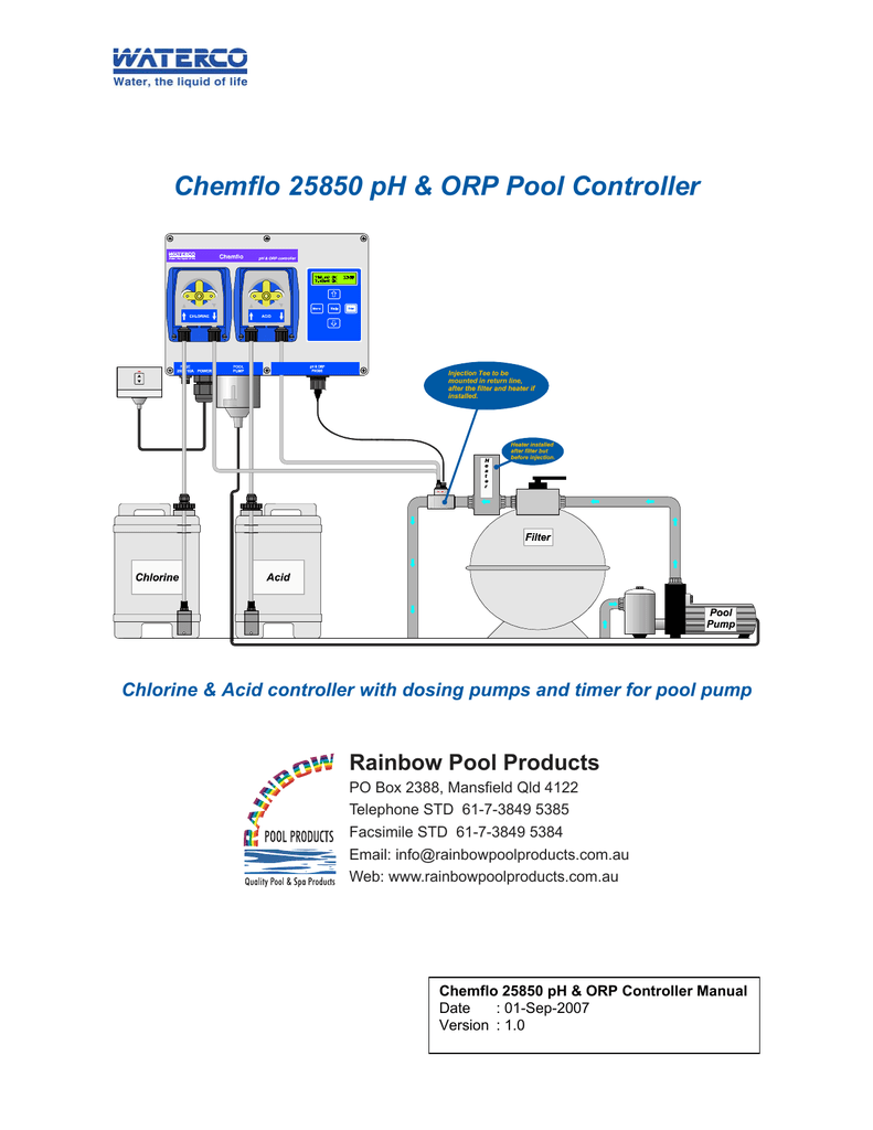 hight resolution of chemflo 25850 ph orp pool controller rainbow pool products