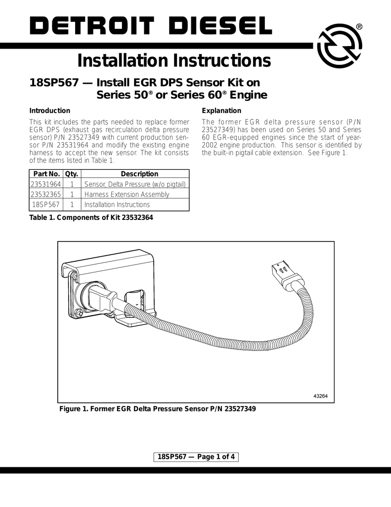 medium resolution of installation instructions 18sp567 install egr dps sensor kit on series 50 or series 60 engine introduction explanation this kit includes the parts
