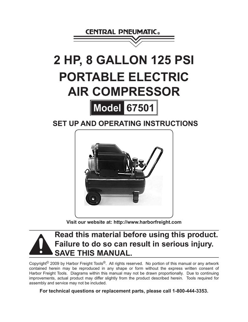 Central Pneumatic Air Compressor 8 Gallon