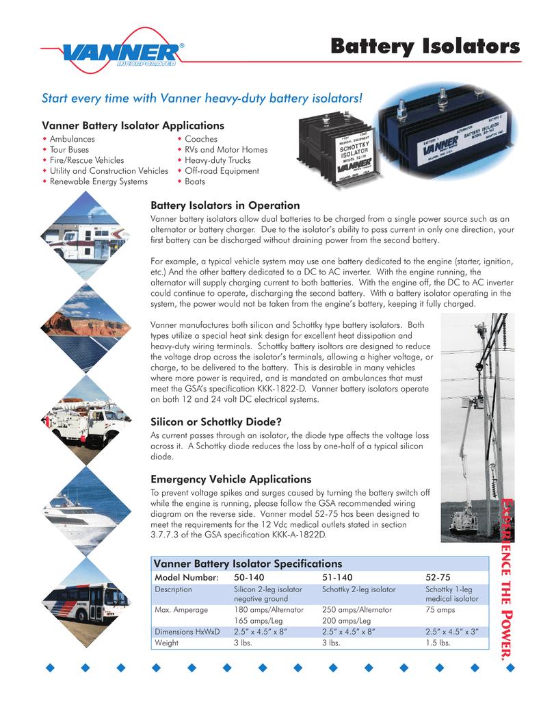 medium resolution of battery isolators start every time with vanner heavy duty battery isolators manualzz com