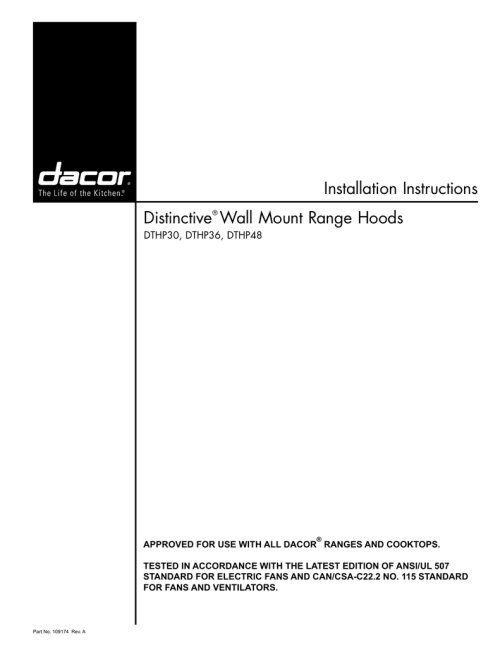 small resolution of installation instructions distinctive wall mount range hoods dthp30 dthp36 dthp48