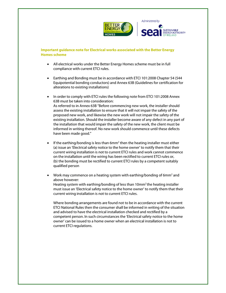 hight resolution of important guidance note for electrical works associated with the better energy homes scheme size 104 1 kb