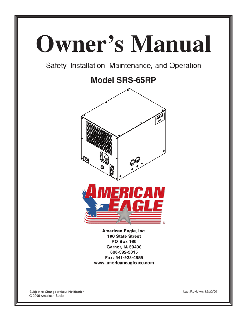 Owner's Manual Model SRS-65RP Safety, Installation
