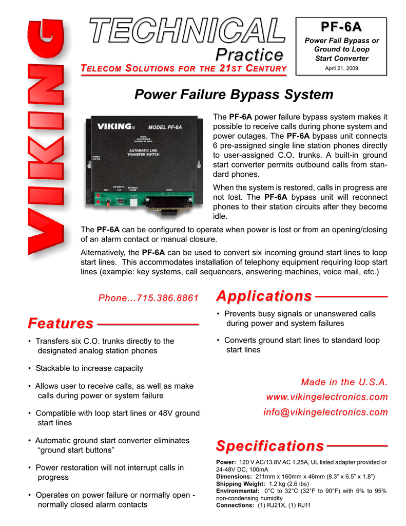 medium resolution of viking pf 6a power fail bypass or ground to loop start converter technical information