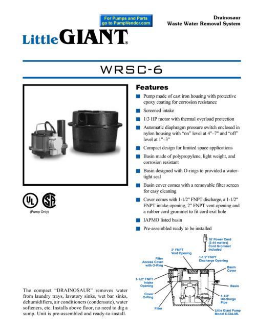 small resolution of drainosaur waste water removal system wrsc 6 features n pump made of cast iron housing with protective epoxy coating for corrosion resistance n screened