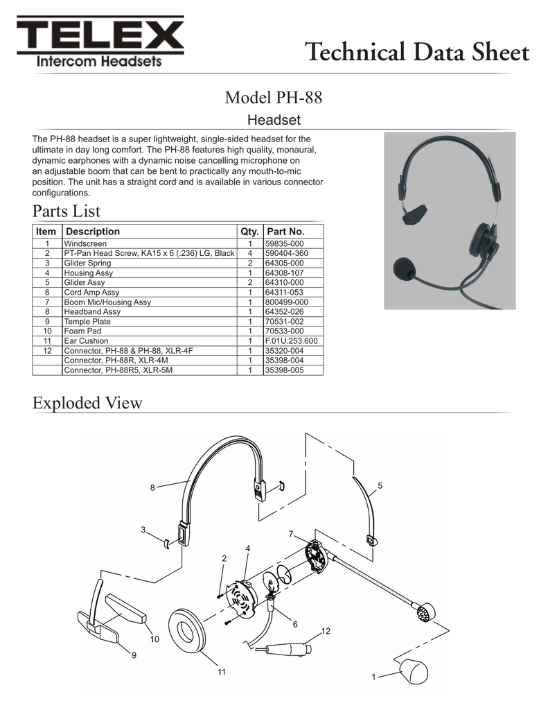 hight resolution of  diagram ph 88 technical data sheet manualzz com on headset jack wiring