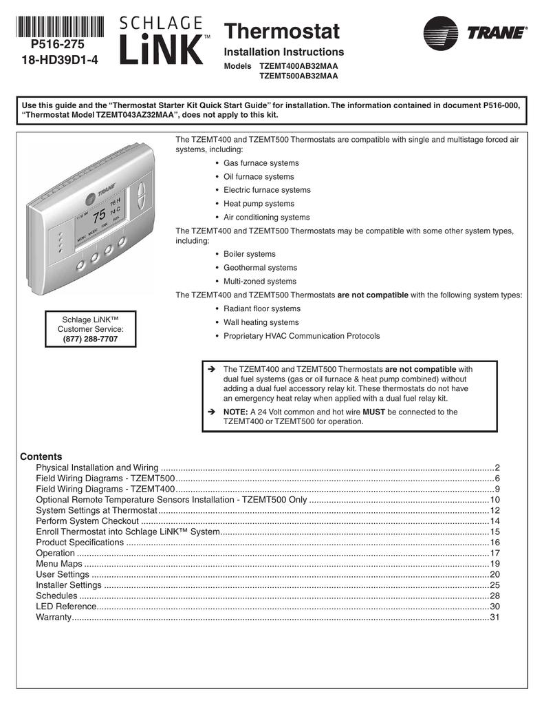 hight resolution of schlage link tzemt500 trane thermostat installation manual