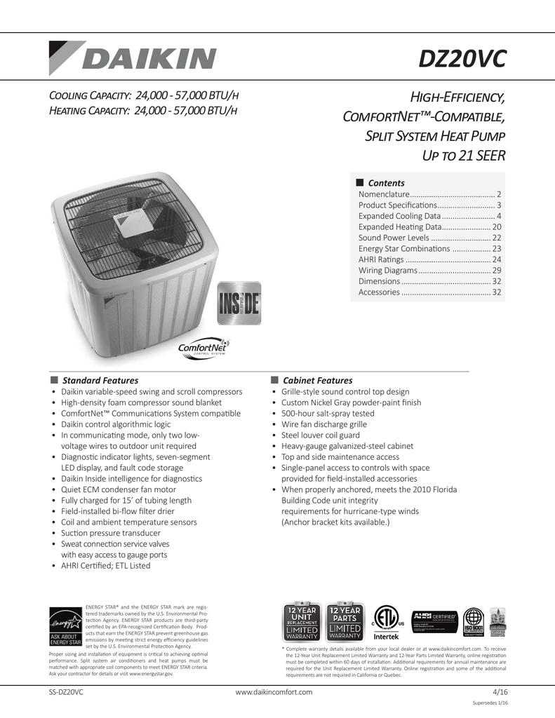hight resolution of dz20vc high efficiency comfortnet compatible split system heat pump
