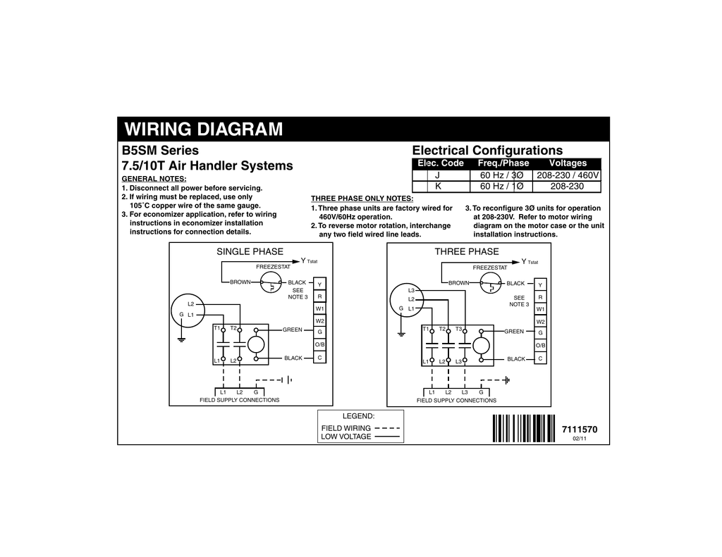 hight resolution of wiring diagram electrical configurations b5sm series 7 5 10t air handler systems