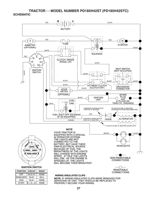 small resolution of tractor model number pd185h42st pd185h42stc schematic