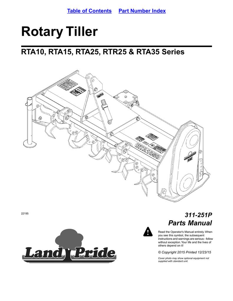 Rotary Tiller RTA10, RTA15, RTA25, RTR25 & RTA35 Series
