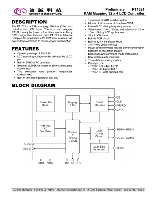 small resolution of datasheet for pt1621 x by princeton technology corporation
