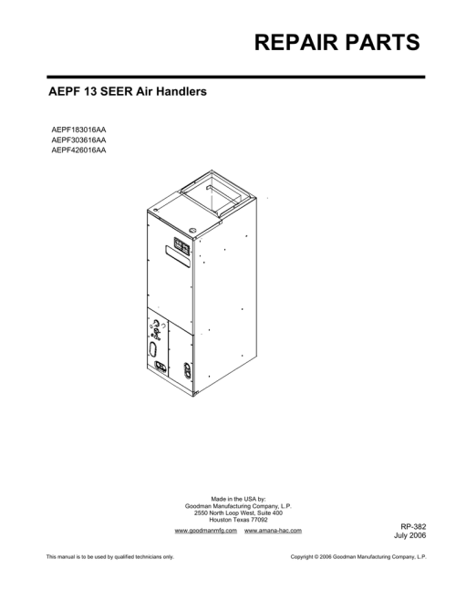 small resolution of indoor unit parts manual