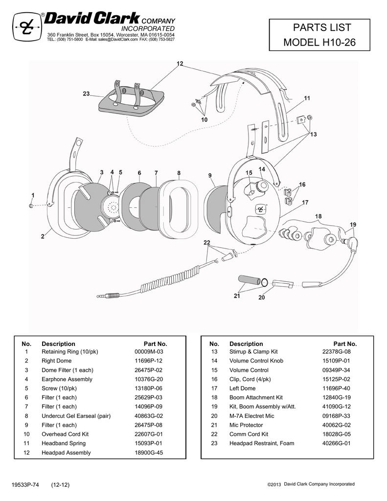 hight resolution of parts list model h10 26 description no
