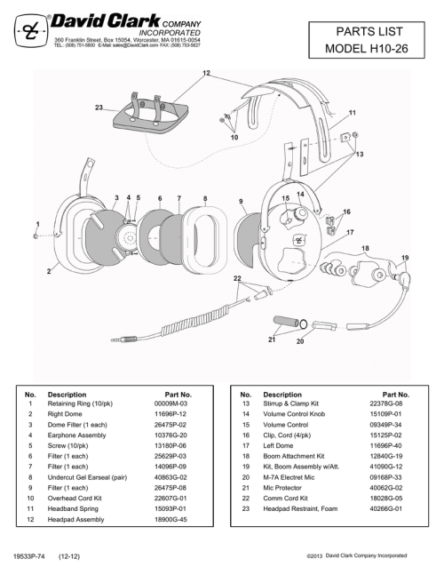 small resolution of parts list model h10 26 description no