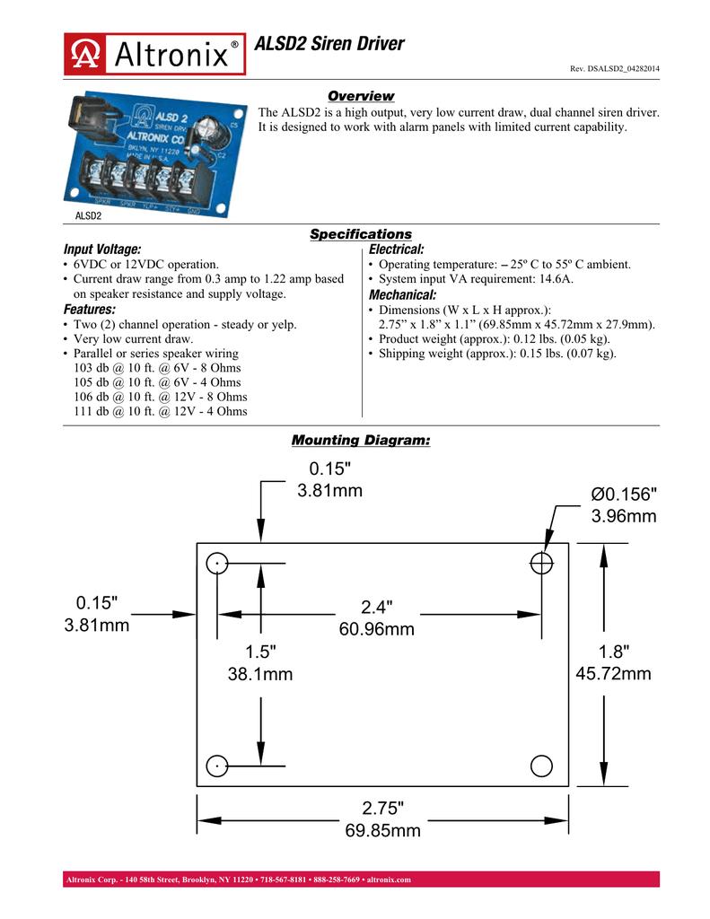 medium resolution of  alsd2 siren driver overview manualzz com on rb5 relay module 24vac relay module