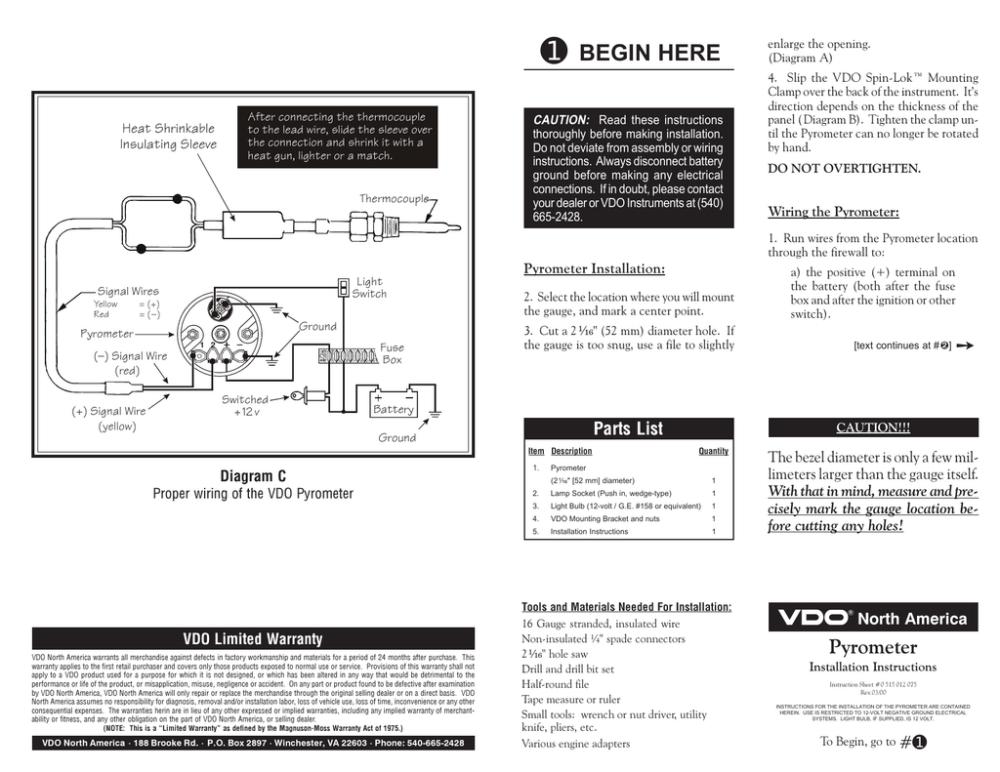 medium resolution of vdo pyrometer gauges install instructions manualzz comvdo pyrometer gauges install instructions