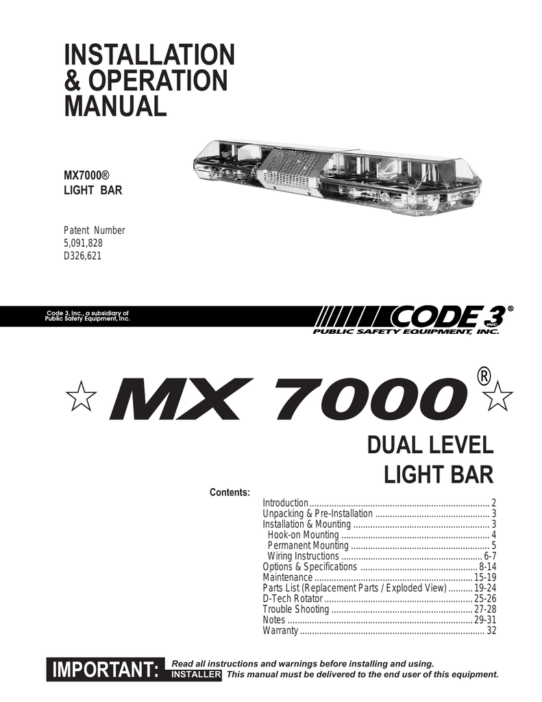 medium resolution of mx 7000 installation guide manualzz com light wiring diagram 5 mx7000 light bar wiring diagram
