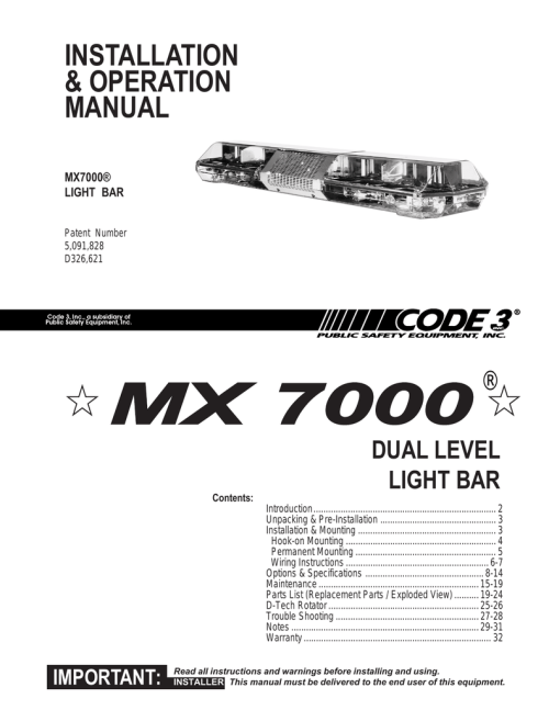 small resolution of mx 7000 installation guide manualzz com light wiring diagram 5 mx7000 light bar wiring diagram