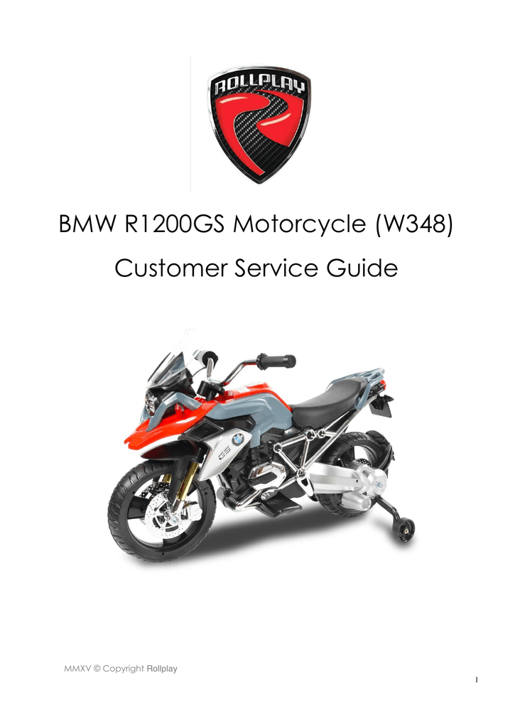 BMW R1200GS Motorcycle (W348) Customer Service Guide