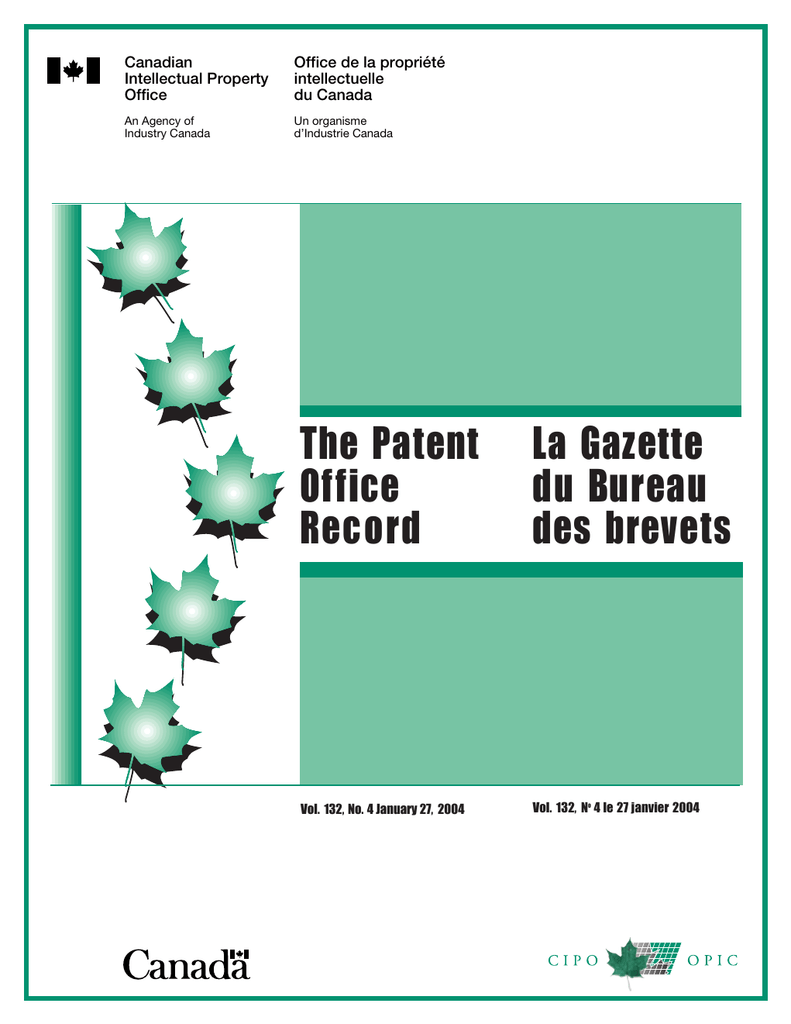 La Gazette The Patent du Bureau Office | manualzz.com