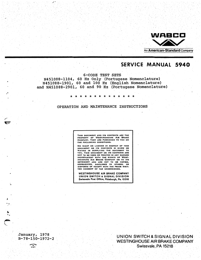 hight resolution of company service manual 5940 6 code test sets n451088 1104 60 hz only portugese nomenclature n451088 1901 60 and 100 hz english nomenclature and
