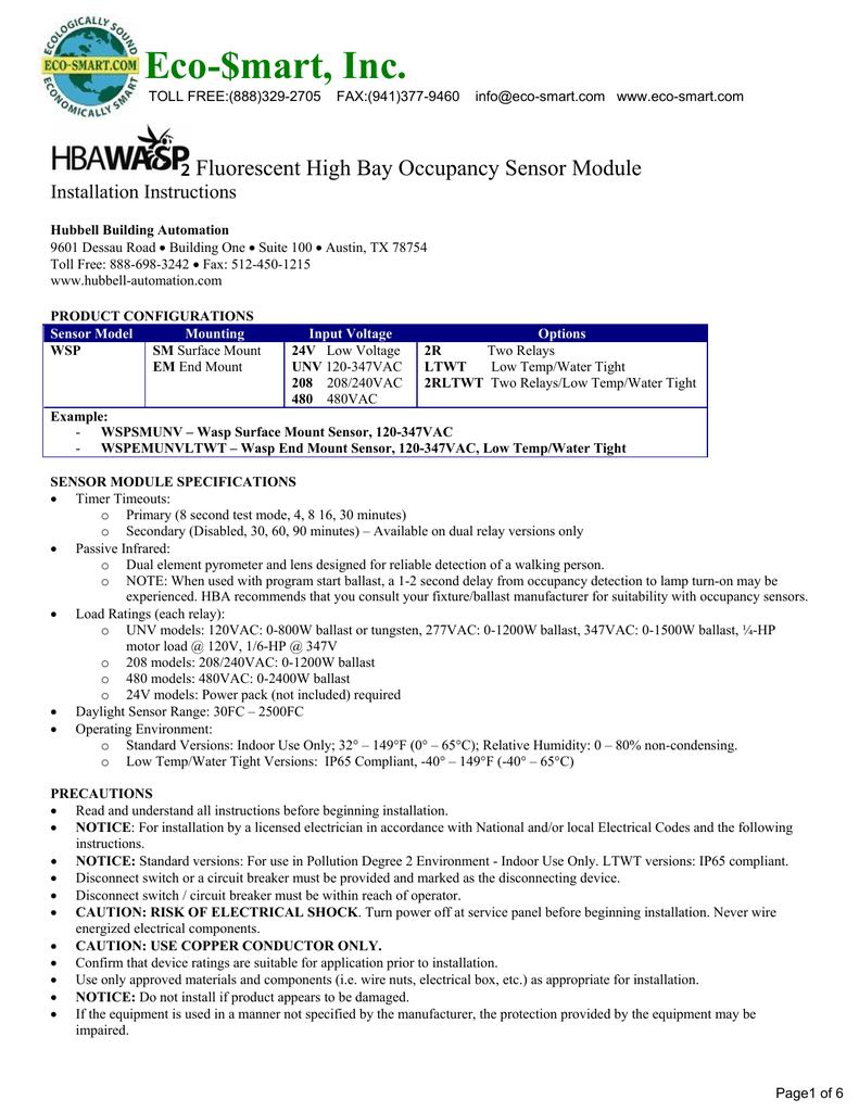 medium resolution of eco mart inc fluorescent high bay occupancy sensor module installation instructions