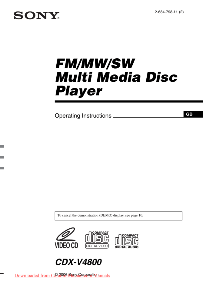 sony cdxv4800 user guide manual  manualzz