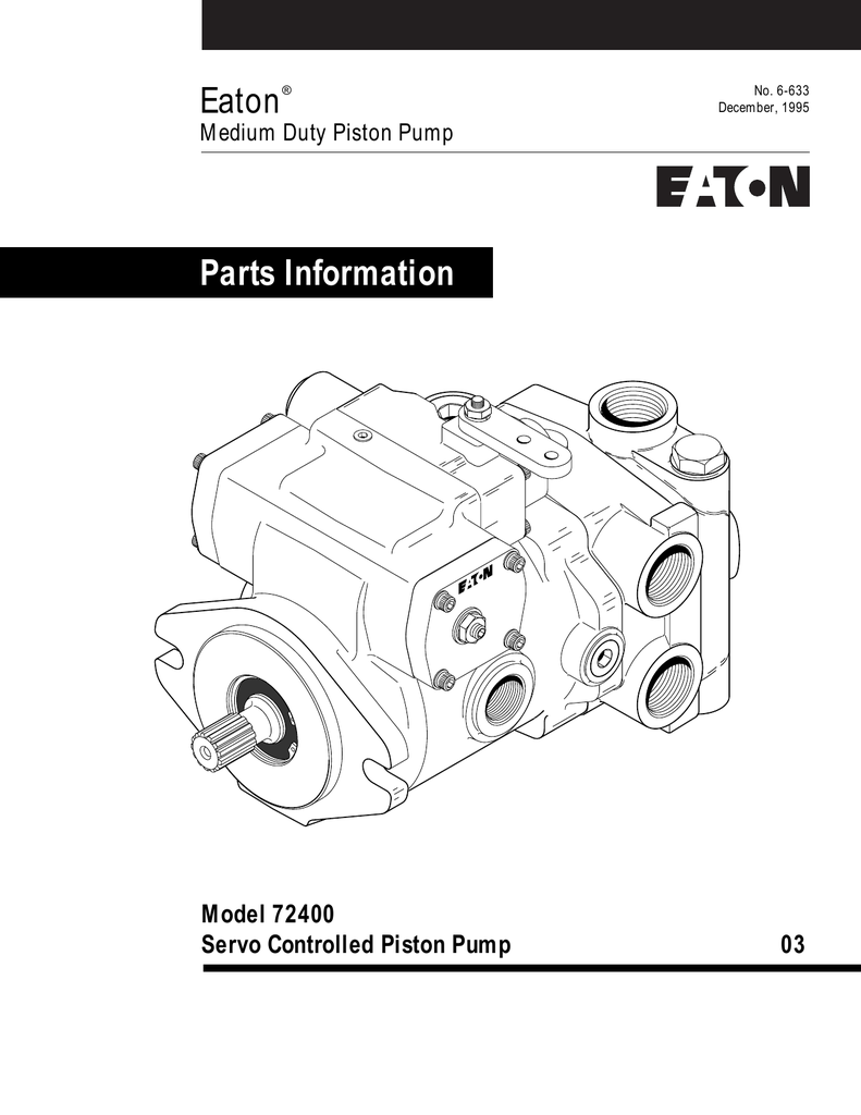 Eaton Parts Information Model 72400 Servo Controlled
