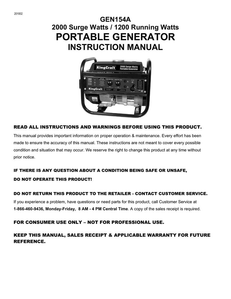 medium resolution of gen154a kingcraft 2000 watt generator manualzz com king craft generator wiring diagram for motor