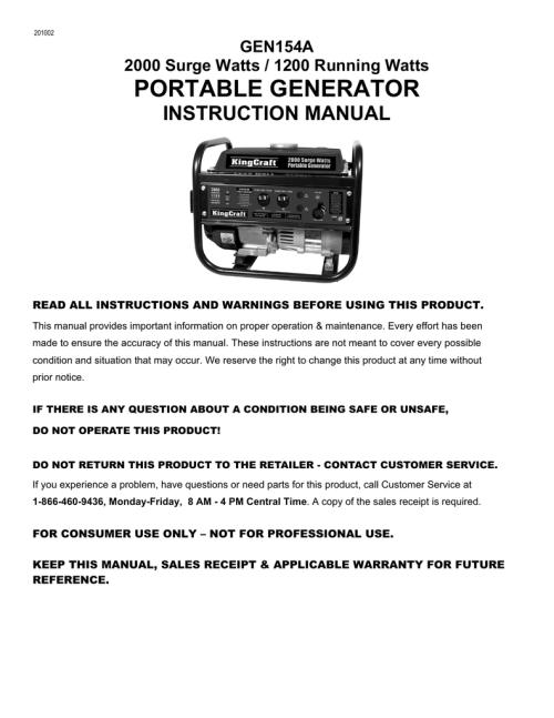 small resolution of gen154a kingcraft 2000 watt generator manualzz com king craft generator wiring diagram for motor