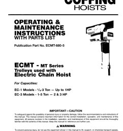 ecmt 680 5 ecmt mt series trolleys used with electric chain hoist for capacities ec 1 models 1 4 3 ton up to  [ 791 x 1024 Pixel ]