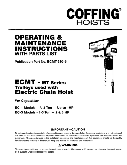 small resolution of ecmt 680 5 ecmt mt series trolleys used with electric chain hoist for capacities ec 1 models 1 4 3 ton up to