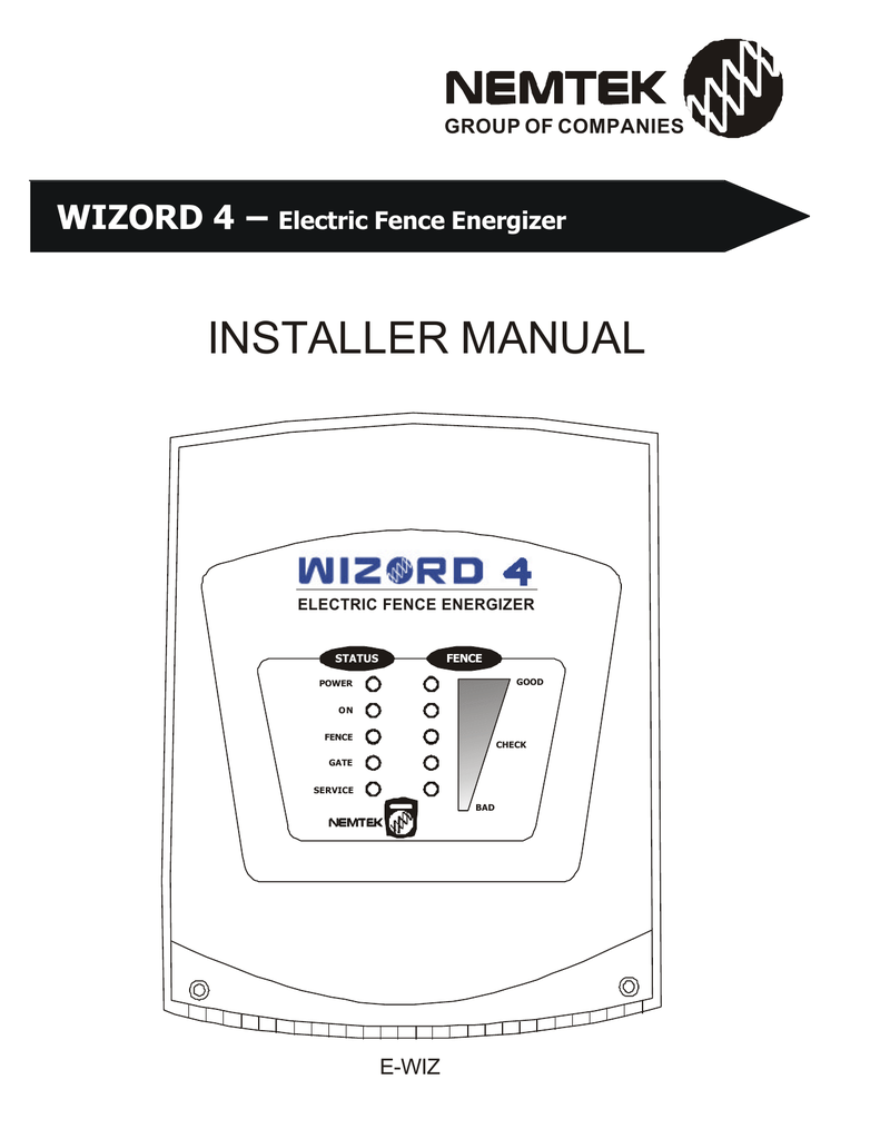 hight resolution of installer manual wizord 4 electric fence energizer