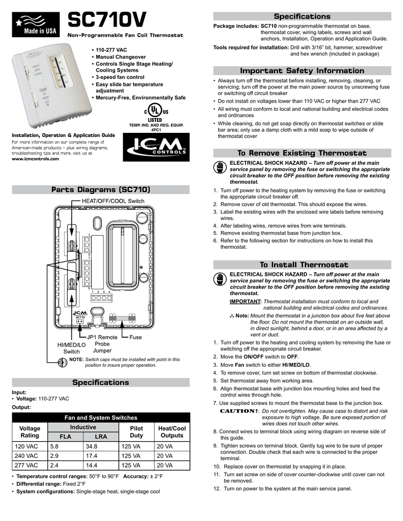 hight resolution of sc710v specifications non programmable fan coil thermostat 110 277 vac manual changeover controls single stage heating cooling systems 3 speed fan