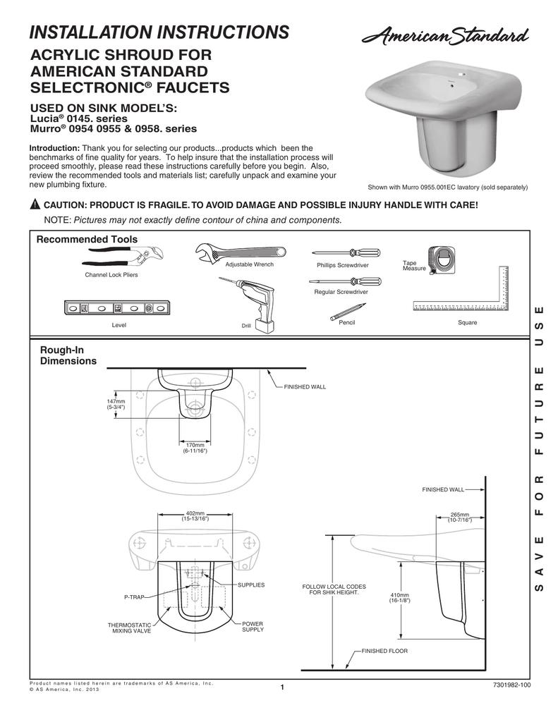 medium resolution of installation instructions acrylic shroud for american standard selectronic